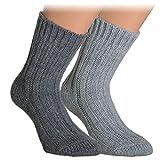 Vitasox 43349 Damen Herren Socken Wolle Alpaka Wollsocken Alpakasocken einfarbig 2er Pack anthrazit, natur 35/38