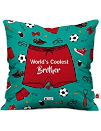 indibni Indigifts World's Coolest Brother Quote Printed Micro Satin, Fibre, Cotton Cushion Cover with Crystal Rakhi, Roli and Greeting Card (Sea Green)