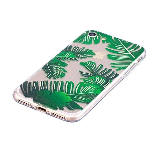 iPhone 7 Custodia Transparente, iPhone 7 Cover Silicone, JAWSEU Super Sottile Crystal Chiaro Custodia per Apple iPhone 7 Bumper Corpeture Case Creativo Disegno Antiurto Anti-scratch Shock-Absorption S Foglie di banana