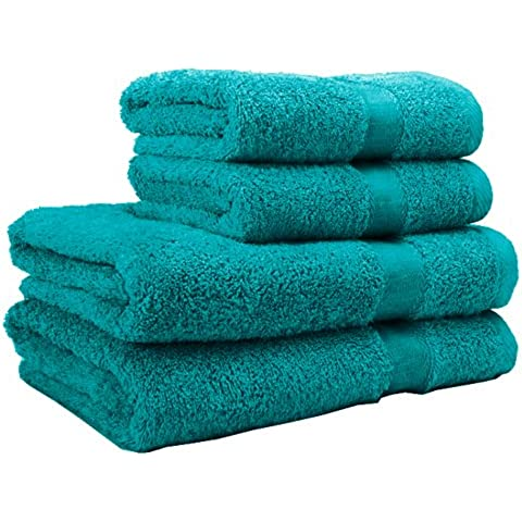 TreeWool®, Supreme (Pack de 4) Juego de toallas en 100% algodón Egipcio, calidad 600 g/m², 2 Baño & 2 manos