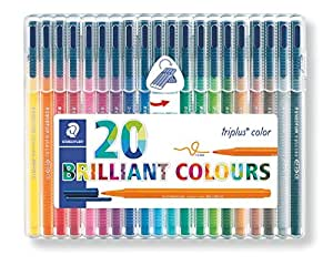 Staedtler Triplus color 323, Feutre de haute qualité, Pour écriture, dessin et coloriage, Set de 20 couleurs lumineuses, pointe moyenne 1 mm, 323 SB20