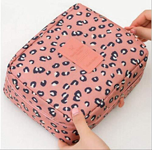 HZB Kosmetiktasche Frauen Wash Toiletry Make Up Lagerung Travel Kit BagPink Leopard -