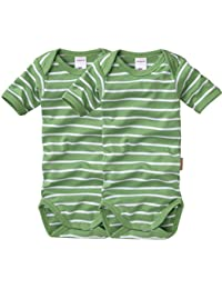 wellyou, 2er Set Kinder Baby-Body Kurzarm-Body, grün weiß gestreift, geringelt, Feinripp 100% Baumwolle, Größe 50-134