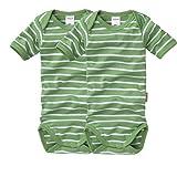 wellyou, 2er Set Kinder Baby-Body Kurzarm-Body, grün weiß geringelt, Feinripp 100% Baumwolle, Größe 50-134