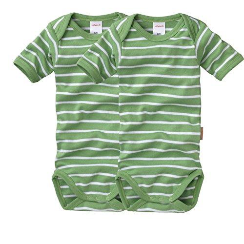 wellyou, 2er Set Kinder Baby-Body Kurzarm-Body, grün weiß gestreift, geringelt, Feinripp 100% Baumwolle, Größe 80 - 86