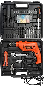 BLACK+DECKER HD555KMPR-B1 13mm 550Watt Hammer Drill and Hand Tools Kit for Home,DIY and Professional use -100