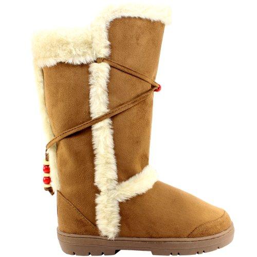 Femmes en fausse fourrure doublure semelle épaisse bottes de neige d'hiver Tan