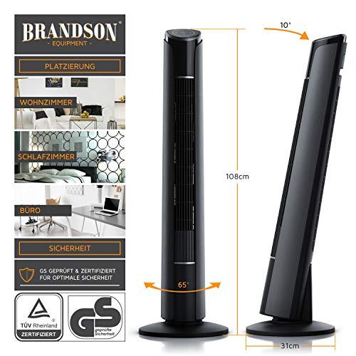 Brandson – Turmventilator mit Fernbedienung 108 cm | Ventilator 10° neigbar | Standventilator mit Oszilation | 65° oszillierend | 3 Geschwindigkeiten 4 Lüftungs-Modi Timer | GS | Cool Grey kaufen  Bild 1*