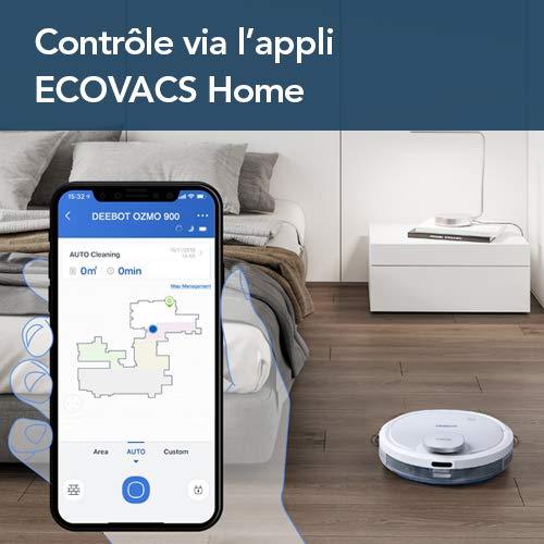 ECOVACS DEEBOT OZMO 900 - Aspirateur robot 2 en 1 pour sols durs et tapis - Aspirateur nettoyeur sans fil - Programmable via smartphone et compatible avec Amazon Alexa