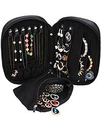 WODISON equipaje de caja de la joyería del organizador del recorrido con extraíble bolsa Negro (Negro)