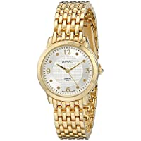 August Steiner Women's Diamond Dress Watch - Textured Gemstone Dial with Big Number Hour Markers on Yellow Gold Tone Stainless Steel Bracelet - AS8133