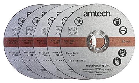 Am-Tech V1042 1.2 x 115 mm Metal Cutting Discs - Red (5-Piece)