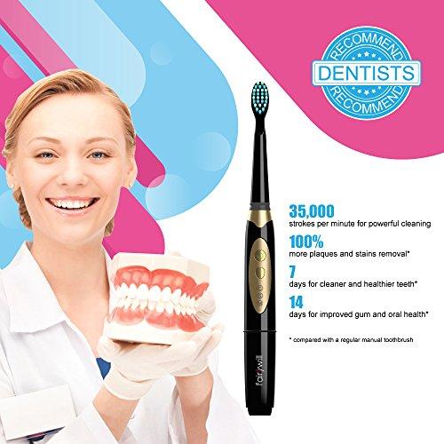 Cepillo de dientes eléctrico Limpiar los Dientes como Dentist  Impermeable 3 Modos Opcionales incluye 2 Cabezales Reemplazables con 2 AAA Baterías(Incluido) Smart Timer Negro by Fairywill