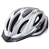 KED Fahrradhelm Paganini Visor, Größe L, Kopfumfang 56-62 cm, Silver Pearl, Leichter Cross-Country-Helm im aggressiven Race-Style für Mountainbiker - Made in Germany