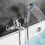 WOOHSE Badewannenarmatur mit Brause, Handbrause mit 5 Strahlarten, Wannenarmatur Badewanne Armatur Wasserfall, Wannenbatterie Wasserhahn inkl. Wandhalterung, Lebenslange Garantie