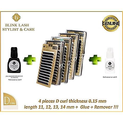 MIX ciglia estensione ciglia. Lunghezza 11, 12, 13, 14 mm - 0,15 millimetri D spugna spessa! + Glue + Remover !!! Blink Lash Stylist !!!