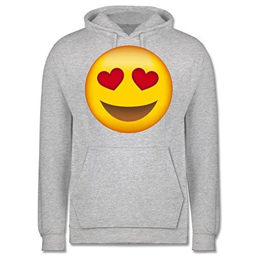 Comic Shirts - Verliebter Emoji - Männer Premium Kapuzenpullover / Hoodie Grau Meliert