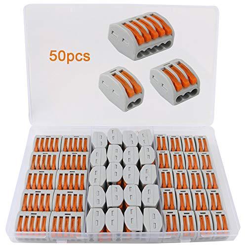 FULARR 50Pcs Premium PCT-212/213 / 215 Lever-Nut Assortiment Pack, Conducteur Compact Fils Connecteurs, Printemps Bornier Pousser Câble Fil Connecteur –– 2 Port 20Pcs, 3 Port 20Pcs, 5 Port 10Pcs