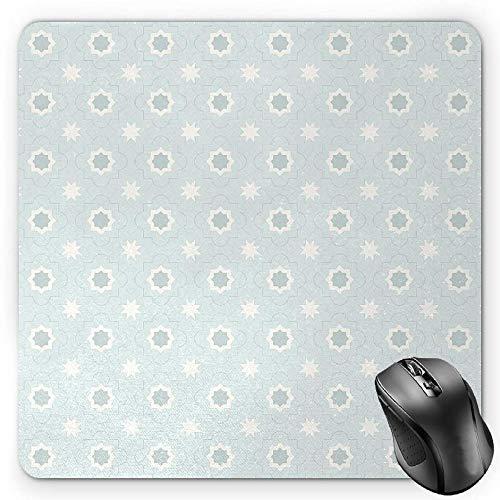 Geometric Mouse Pad, Japanese Civilization Inspired Floral Arrangement Lattice Pattern Asian Gaming Mousepad Office Mouse Mat Dark Blue Cream -