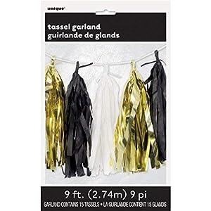 Unique Party- Guirnalda con borlas de papel de seda, Color negro, blanco y oro, 274 cm (62951)