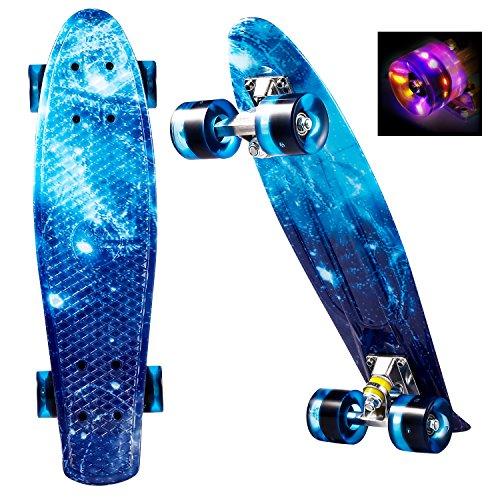 Skateboard Komplett 55cm Retro Skate Board mit LED Leuchtrollen für Kinder Erwachsene ()