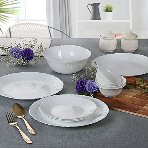 5. Cello Imperial Winter Frost Opalware Dinner Set, 27 Pieces, White
