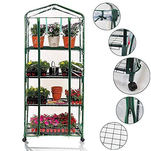 Worth serra da giardino 4 piani con ruote estraibili 69 x 49 x 156cm, foglio di pvc serra balcone vivaio salvaspazio trasparente mini serra
