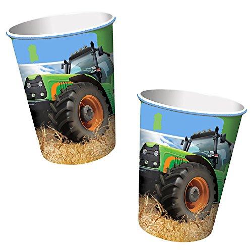 8 Becher * TRAKTOR * für Kindergeburtstag oder Mottoparty // Cups Partybecher Pappbecher Bauernhof Trekker Bauern - Traktor-becher
