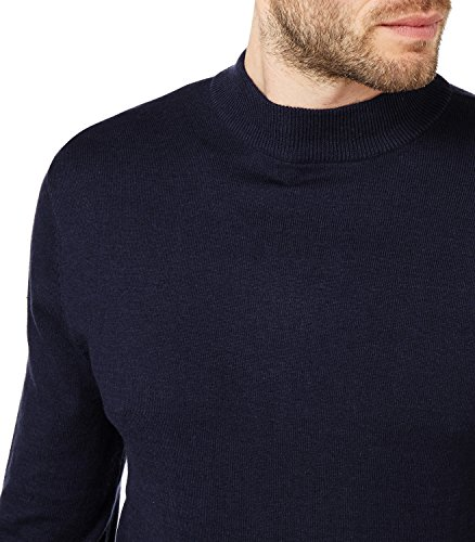 WoolOvers Pull à col cheminée - Homme - Soie & coton Navy