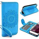 Urcover® Apple iPhone SE / 5 / 5s Handy Schutz-Hülle | Lotus Pattern Wallet Blau | Kartenfach & Standfunktion | Flip Case | Trendy Tasche | Cover Schale | Smartphone Zubehör
