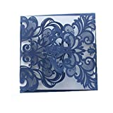 Luxury DIY Laser Cut Navy Blue Lacy Floral Wedding Invitation Invite Card, Cover Only (50PCS)