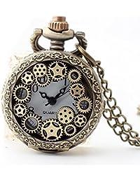 Maybesky Reloj de Bolsillo de la Vendimia ahuecada Creativa Redondo Reloj de Cuarzo de Cadena Larga de los Cabritos Caja de Regalo para cumpleaños Aniversario día Nav