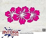 JINTORA Autocollant/autocollant de voiture - Trois fleurs Blooming - 134x71mm - JDM/Die cut - Voiture/vitre/ordinateur portable/fenêtre- rose