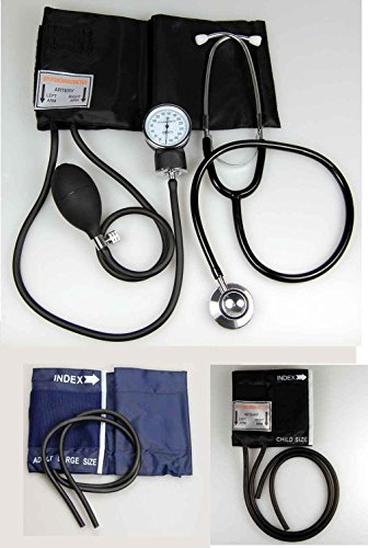 Erwachsene, Blutdruckmesser (Valuemed–Aneroid Blutdruckmessgerät Blutdruckmessgerät Meter + Gratis-Double Head Stethoskop + Fall + 3Manschetten)