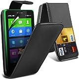 (Schwarz) Nokia X Custom Designed Stilvolle Accessoires zur Auswahl Schutzmaßnahmen Kunst Credit / Debit-Karten-Leder Flip Case Hülle & LCD-Display Schutzfolie von Hülle Spyrox