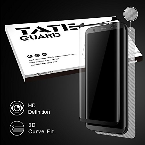 Samsung Galaxy S8+ (S8 Plus) Screen Protector [Special Designed For Case Users] TATE GUARD 3D Curved Fit Tempered Glass Screen Protector,[HD Clear] [9H Hardness,Bubble Free]+ Full Coverage Carbon Fiber Back Film [Black]