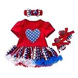 Amphia Mädchenkleid - Baby Mädchen 4. Juli Sterne Print Kleid + Stirnbänder + Schuhe Outfit (4 Stück)