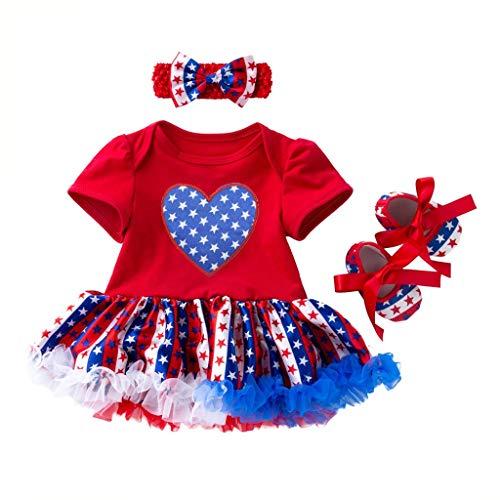 itstag Baby Kurzarm Sternendruck La Kleid Prinzessin Kleid + Haarband + Schuhe dreiteiliges SetNeugeborenes Säugling Baby Mädchen Strampler Jumpsuit Bodysuit Outfits Baby Body ()