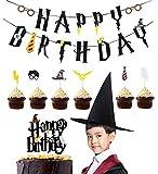 Decorazioni per feste di Harry Potter Matrimoni Decorazioni per feste di compleanno di Harry Potter Striscioni di cupcake per cupcake Decorazioni per decorazioni di compleanno Questo set di forniture per feste di ...