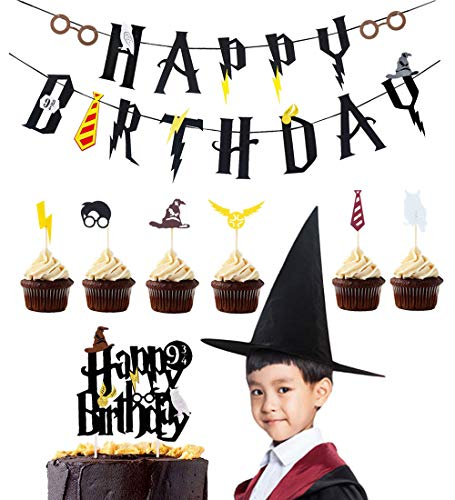 Harry Potter Party Supplies Birthday Banner Cupcake Toppers Wizard Hat Cake Topper para Decoraciones de cumpleaños