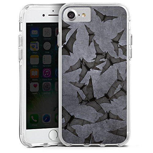 Apple iPhone 7 Bumper Hülle Bumper Case Glitzer Hülle Fledermaus Bat Vampir Bumper Case transparent