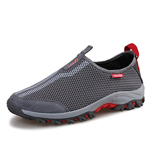 Men's Breathable Super Light Outdoor Athelitic Running Shoes Gray Red
