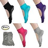 5Paar Fuß Yoga, Pilates, Socken, rutschfest, Skid Barre Socken mit Grips für Frauen Männer