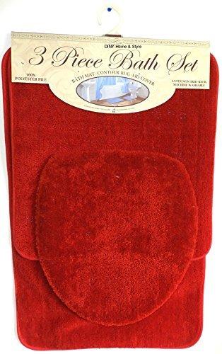 DINY Home & Style 3Stück Bad Teppich Set Brick Rot Badteppich Contour Teppich Deckel Rutschfeste Latex-Unterseite