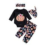 SEWORLD Baby Halloween Kleidung,Niedlich 4PCs Infant Baby Mädchen Jungen Kürbis Strampler + Pants Hut Halloween Outfits Set 18 Monate