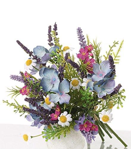 artplants Künstlicher Sommerstrauß Anett, Lavendel, Hortensie, blau-rosa, 18 cm, Ø 18 cm – Blumenstrauß/Kunststrauß