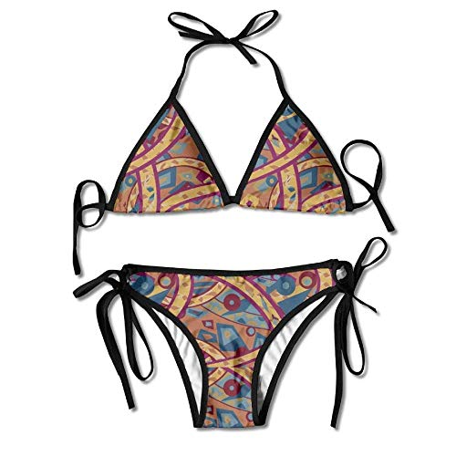 Zcfhike 3D Flower Print Abstract Lines Custom Sexy Beach Swimwear Women's Triangle Bralette Bikini Set of 2 Black -