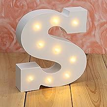 LEDMOMO Luces Decorativas LED Diseño de Alfabeto de Madera Lámpara de Noche de Mesa – Letra S (Luz Blanca Caliente)