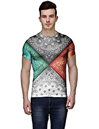 Wear Your Mind Multi-Coloured Poly Cotton Round Neck Printed T-shirt For Men CST010