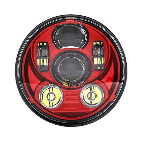 SKUNTUGUANG Rot 5,75 Zoll Runde Led Scheinwerfer für Motorrad Harley Davidson XL 1200C, rot (Motorrad Harley Davidson Teile)
